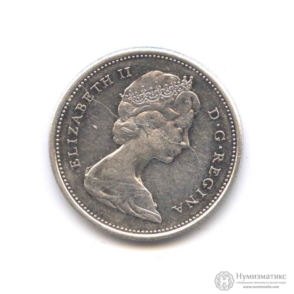Монета канада 25 центов 1967 монета рубль 1725 года